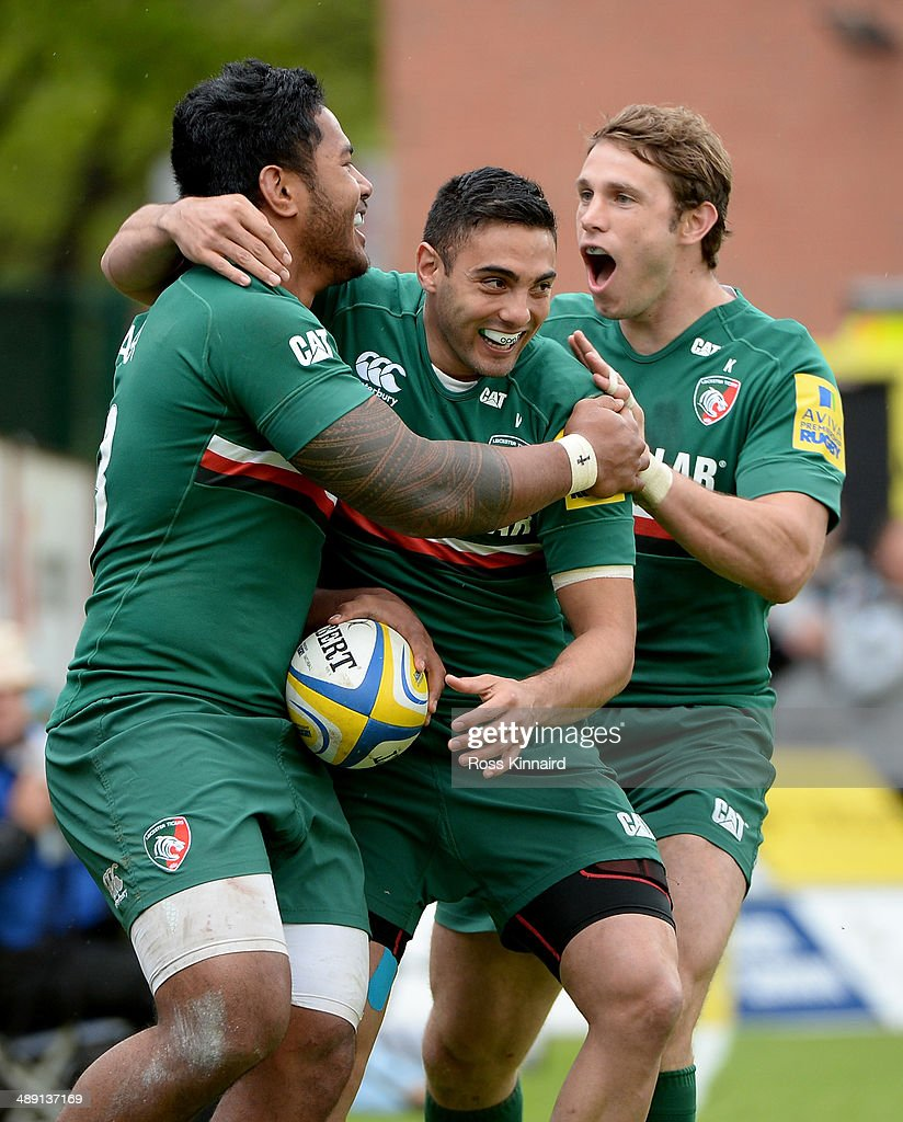 Manusamoa Tuilagi of Leicester Tigers celebrates his try during the Aviva Premiership match between Leicester Tigers and Saracens at Welford Road on May 10, 2014 in Leicester, England.
