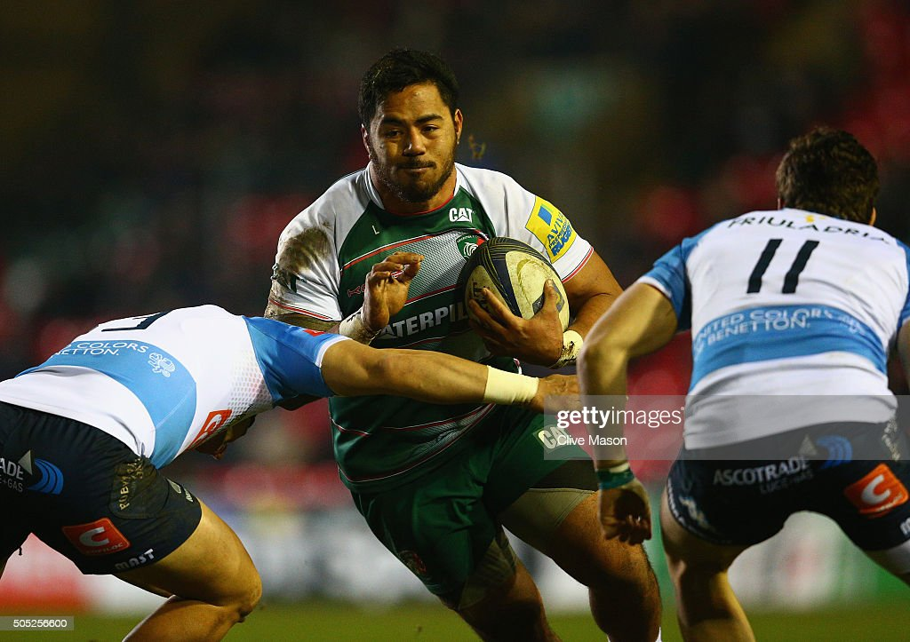 Manusamoa Tuilagi of Leicester Tigers in action during the European Rugby Champions Cup match between Leicester Tigers and Benetton Treviso at...