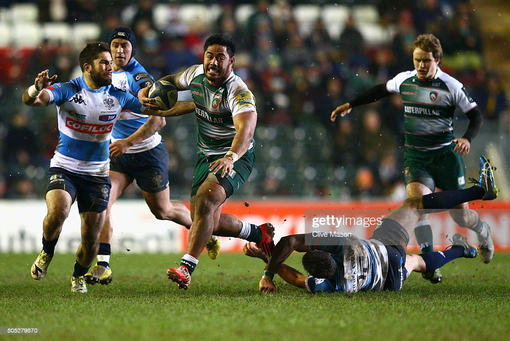 Manusamoa Tuilagi of Leicester Tigers in action during the European Rugby Champions Cup match between Leicester Tigers and Benetton Treviso at Welford Road on January 16, 2016 in Leicester, England.