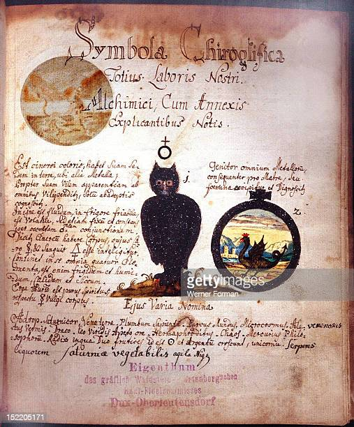 Manuscript page with depiction of the owl and the symbol of antimony The owl was considered by alchemists as the symbol of wisdom and darkness while...