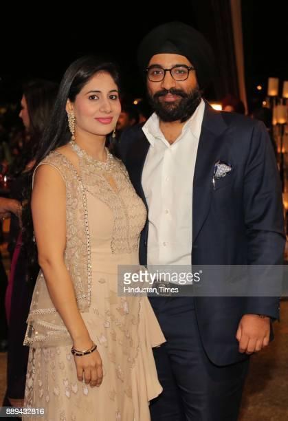 Manveen and Amandeep Sahney during a Gala evening showcasing fusion of Indian International Culture at Nandiya Garden Hotel ITC Maurya on December 6...