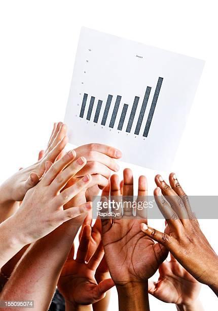 多くの力を手にも手を伸ばしグラフアゲインストホワイトのプリント