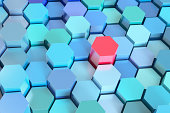 Many blue hexagons, various heights, one red