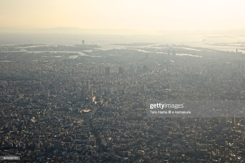 Many building in center of Osaka city in Osaka prefecture daytime aerial view from airplane : ストックフォト