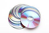 Many CDs on white background