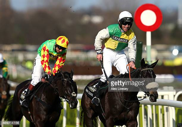 Many Clouds ridden by Leighton Aspell wins the 2015 Crabbie's Grand National at Aintree Racecourse on April 11 2015 in Liverpool England