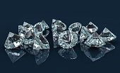 Many diamonds on reflective desk. Selective Focus. 3D illustration