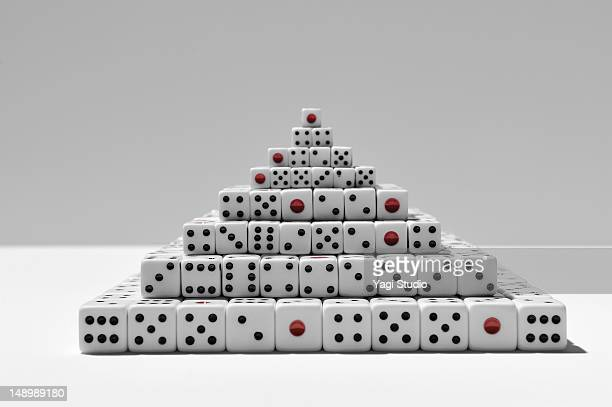 Many dice on white background