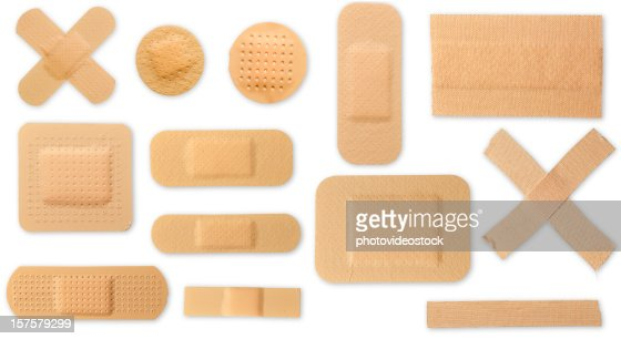 Many different plasters with clipping paths