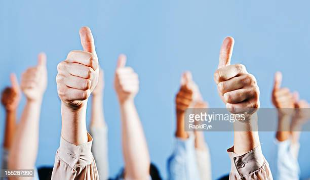 Many enthusiastic and approving Thumbs Up signs