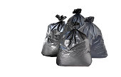 many garbage bag on white background