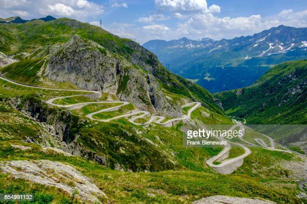 Many hairpin bends of the old road Tremola are leading up to the Passo del San Gottardo Gotthard Pass