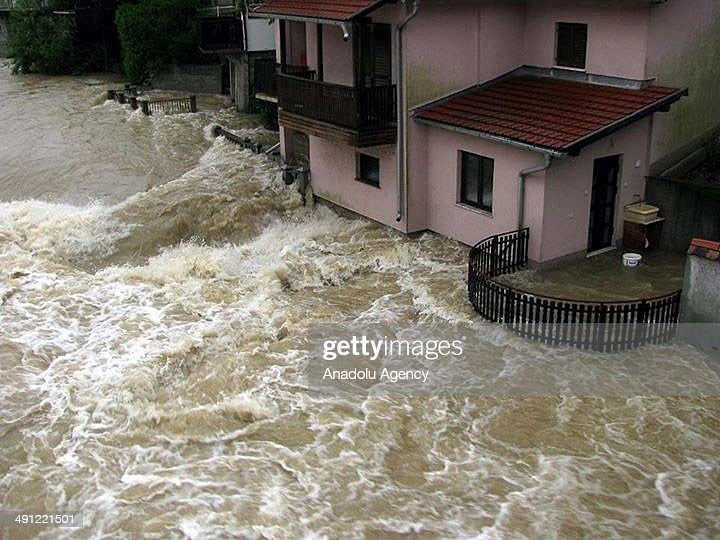 Many homes and agricultural lands submerged after the overflow of rivers due to heavy rainfalls in Sarajevo Bosnia and Herzegovina on May 15 2014...