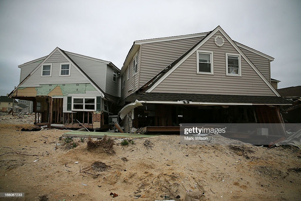 Many homes remain damaged and mostly untouched since Superstorm Sandy hit the coastline, May 5, 2013 in Ortley Beach, New Jersey. Superstorm Sandy slammed into the New Jersey coastline six-months ago causing approximately $29.4 billion in damage.