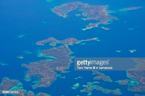 Many islands and coral reefs in Palawan province in Philippine aerial view from airplane : ストックフォト