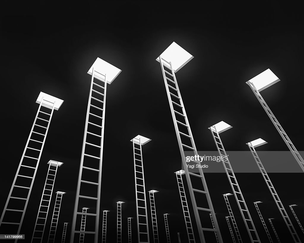 Many ladders leading to the exit, black background