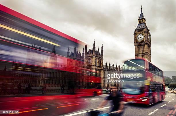 Many London Double Decker Bus Near Big Ben Tower