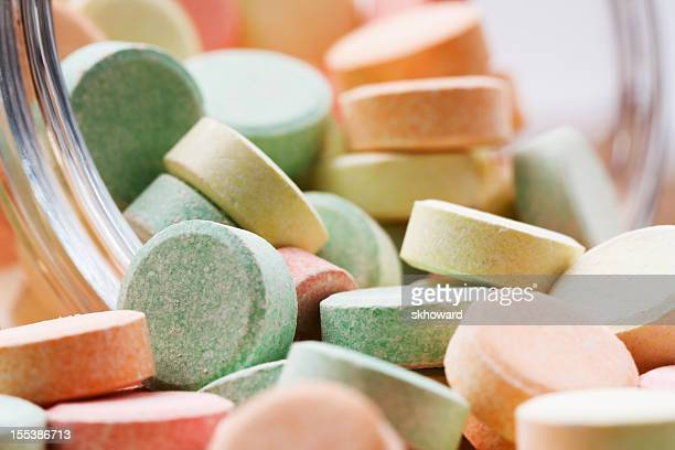 Many Multi Colored Antacid Tablets