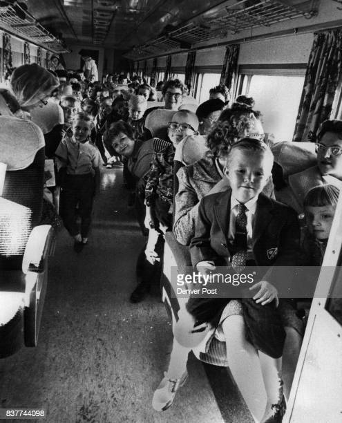 Many of these Arada Preschool children are taking their train ride from Denver to Rocky Flats in the passenger coach of Rio Grande's Yampa Valley...