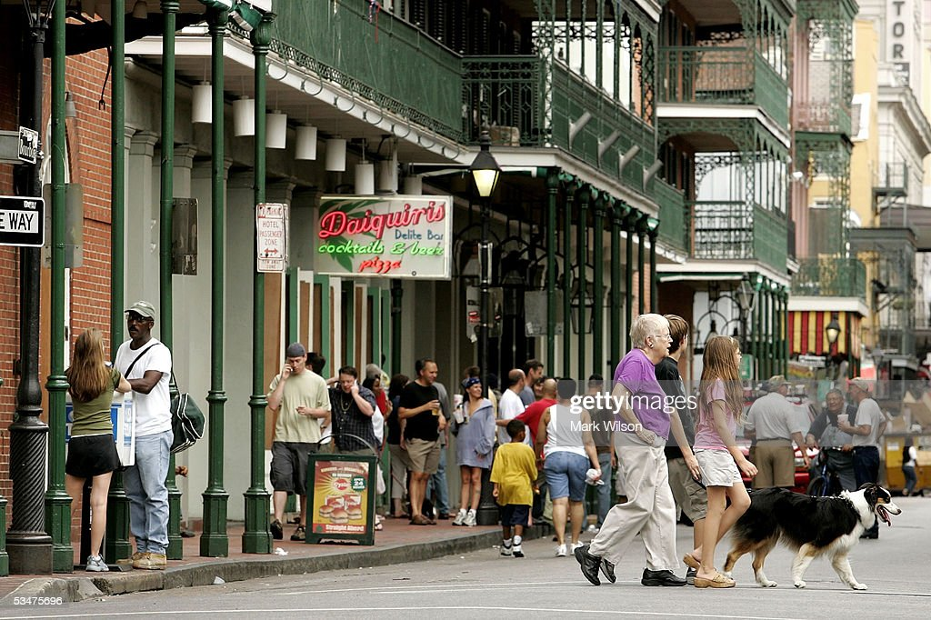 Many people have decided not to evacuate and fill Bourbon Street in spite of the mandatory evacuation ordered by the Governor August 28, 2005 in New Orleans, Louisiana. Hurricane Katrina has sustained winds of 175 mph and is expected to make landfall in the Gulf Coast as early as August 29. A state of emergency has been declared for Louisiana as the Category 5 storm approaches.