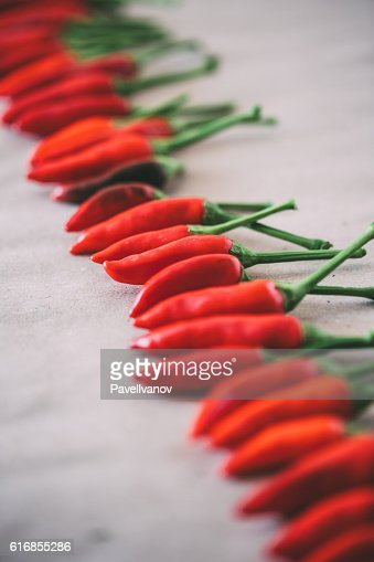 Many red hot chili peppers. : Stock Photo