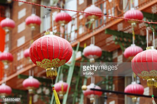 many red lantern against building