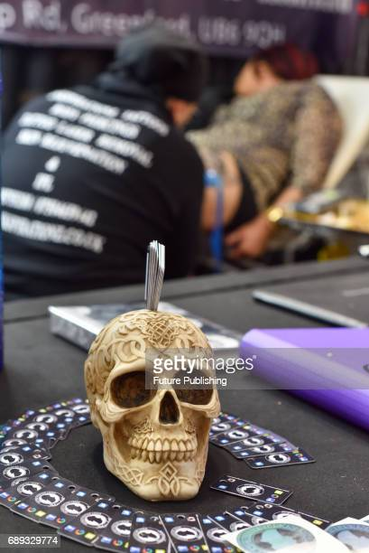 Many skulls and stuffed animals on display during annual Great British Tattoo Show held at Alexandra Palace on May 28 2017 in London England...