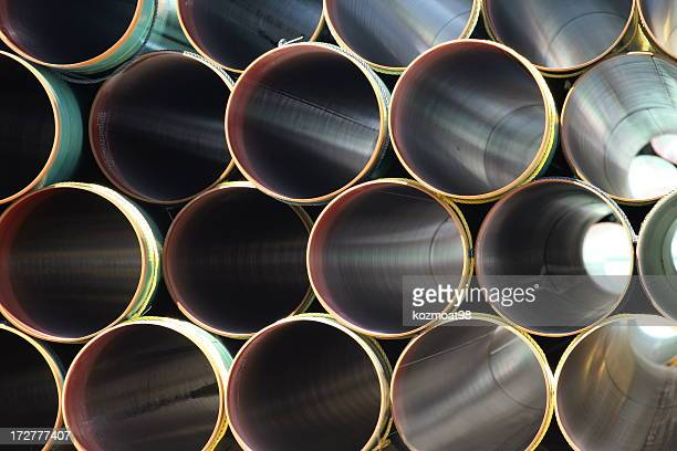 Many Steel pipes in large stack