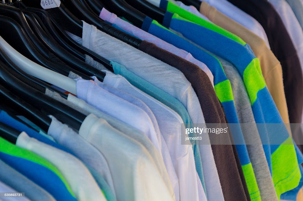Many summer dresses in various colors : Stock Photo