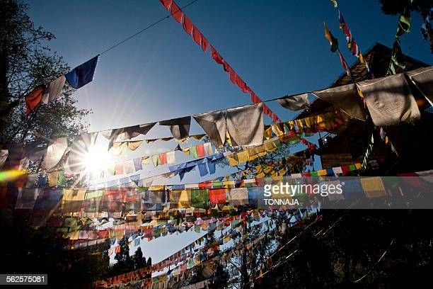 Many tibetan flags are hanged at the Temple in Gan