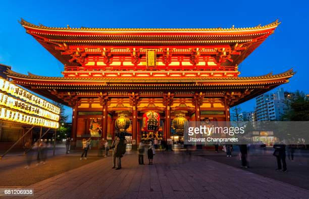 TOKYO JAPAN  APRIL 16 , 2017 :  Many tourists come to Sensoji temple at night. The temple is open light set on the shrine. Tourists take photos and enjoy the beauty of the temple, with a blue sky.