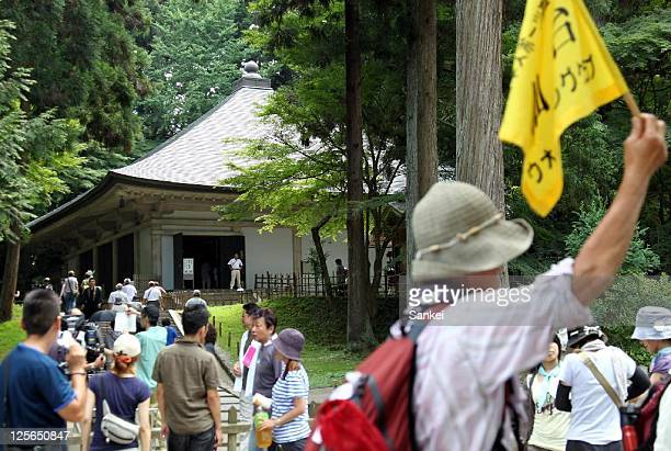 Many tourists visit Chusonji that has been registered as a World Heritage Site for the first time threeday weekend on September 17 2011 in Hiraizumi...