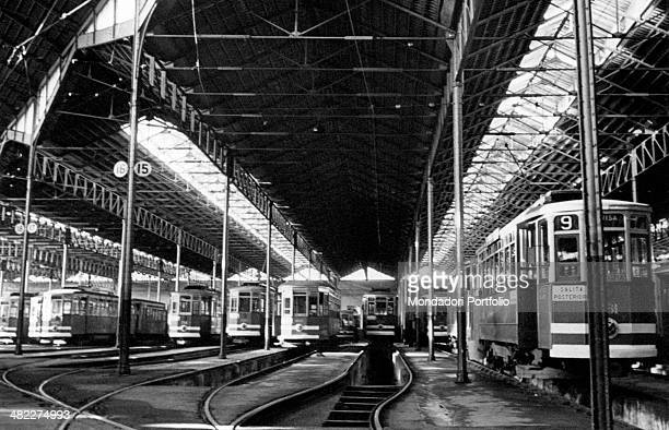 Many trams stopped in a depot of ATM Milan 1950s