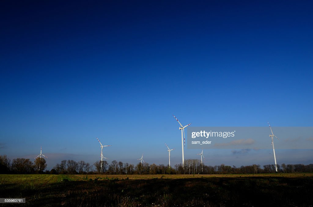 many wind turbines and blue sky : Stock Photo