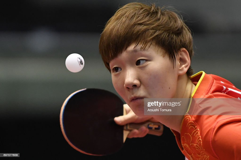 Manyu Wang of China serves during the women's singles semi final match against Yingsha Sun of China on the day 5 of the 2017 ITTF World Tour Platinum LION Japan Open at Tokyo Metropolitan Gymnasium on June 18, 2017 in Tokyo, Japan.