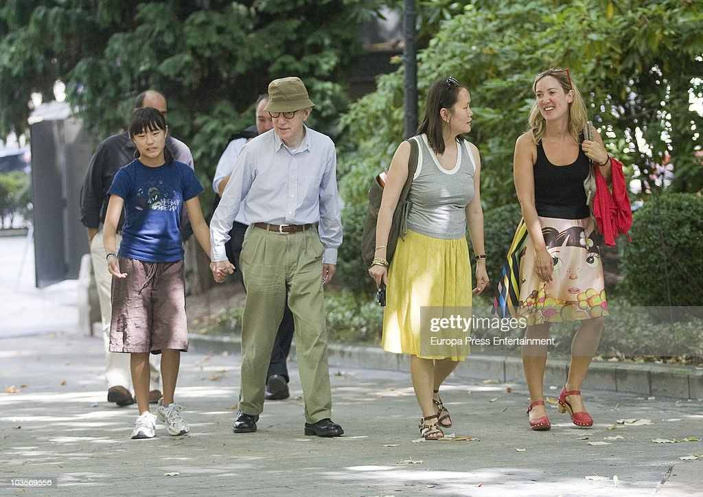 Manzie Tio, <a gi-track='captionPersonalityLinkClicked' href=/galleries/search?phrase=Woody+Allen&family=editorial&specificpeople=202886 ng-click='$event.stopPropagation()'>Woody Allen</a> and <a gi-track='captionPersonalityLinkClicked' href=/galleries/search?phrase=Soon-Yi+Previn&family=editorial&specificpeople=208814 ng-click='$event.stopPropagation()'>Soon-Yi Previn</a> go for a walk on August 24, 2010 in Oviedo, Spain.