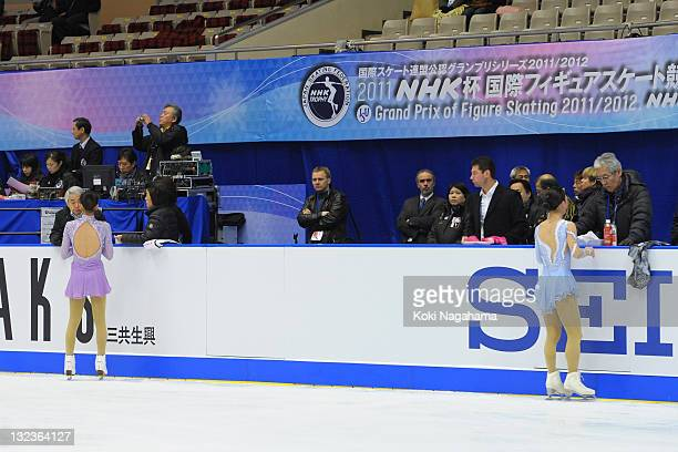 Mao Asada and Akiko Suzuki of Japan perform in the official training during day two of the ISU Grand Prix of Figure Skating NHK Trophy at Makomanai...