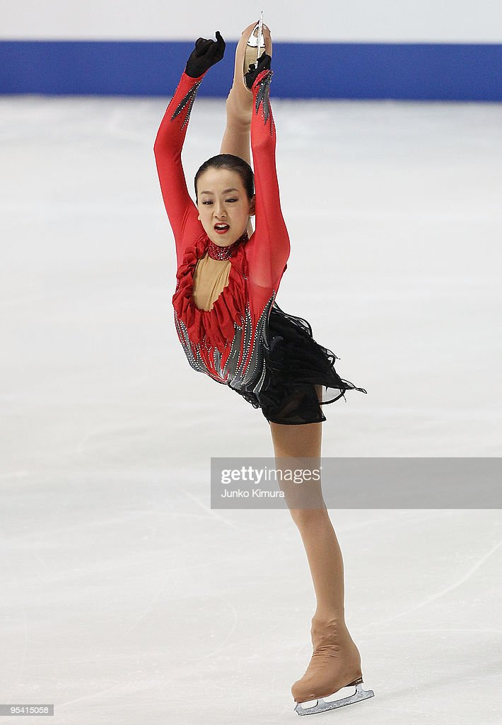 <a gi-track='captionPersonalityLinkClicked' href=/galleries/search?phrase=Mao+Asada&family=editorial&specificpeople=247229 ng-click='$event.stopPropagation()'>Mao Asada</a> competes in the Ladies Free Skating on the day three of the 78th All Japan Figure Skating Championship at Namihaya Dome on December 27, 2009 in Osaka, Japan.