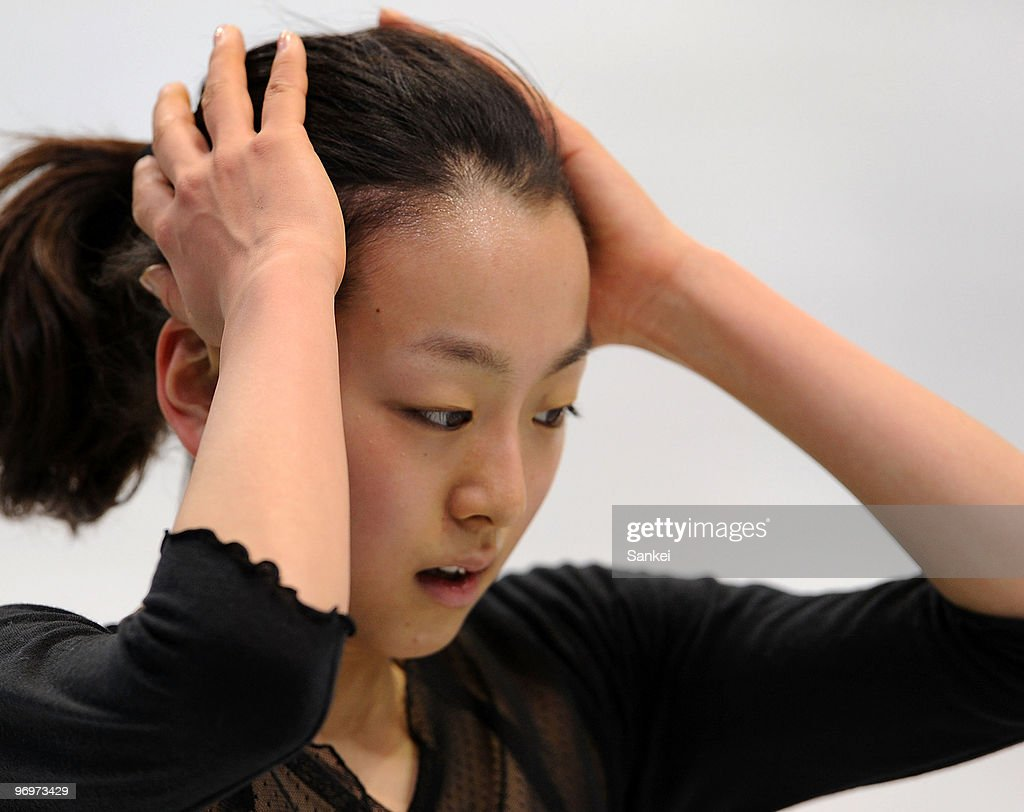 <a gi-track='captionPersonalityLinkClicked' href=/galleries/search?phrase=Mao+Asada&family=editorial&specificpeople=247229 ng-click='$event.stopPropagation()'>Mao Asada</a> in action during a training session of the 2010 Vancouver Winter Olympics at Pacific Coliseum on February 21, 2010 in Vancouver, Canada.