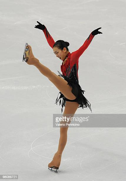 Mao Asada of Japan competes during the Ladies Free Skating at the 2010 ISU World Figure Skating Championships on March 27 2010 in Turin Italy