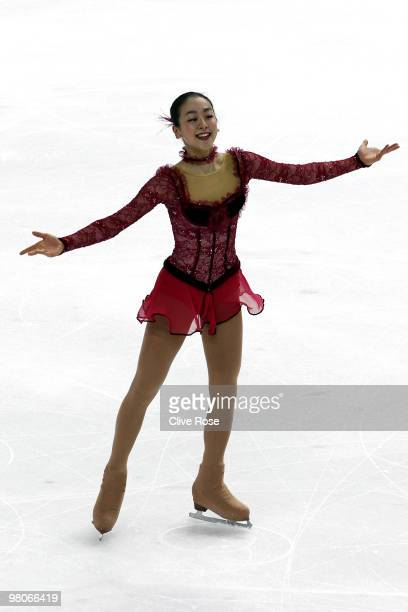 Mao Asada of Japan competes during the Ladies Short Program during the 2010 ISU World Figure Skating Championships on March 25 2010 at the Palevela...