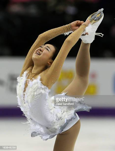 Mao Asada of Japan competes in the Ladies Free Skating during the 2013 ISU World Figure Skating Championships at Budweiser Gardens on March 16 2013...