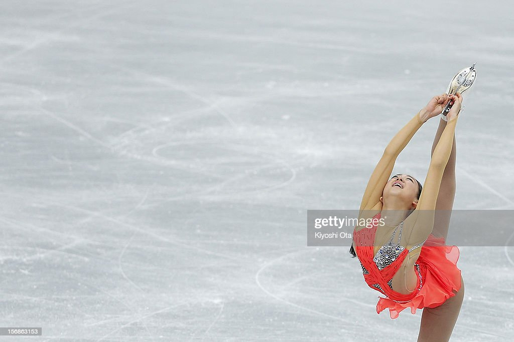 Mao Asada of Japan competes in the Ladies Short Program during day one of the ISU Grand Prix of Figure Skating NHK Trophy at Sekisui Heim Super Arena on November 23, 2012 in Rifu, Japan.