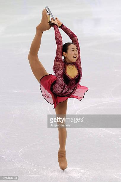Mao Asada of Japan competes in the Ladies Short Program Figure Skating on day 12 of the 2010 Vancouver Winter Olympics at Pacific Coliseum on...
