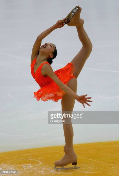 Mao Asada of Japan in action during the 2005 China Figure Skating Championship for the ladies shot program at Capital Gymnasium on November 3 2005 in...