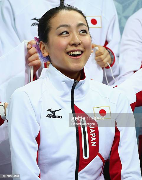 Mao Asada of Japan is seen after competing in the Figure Skating Team Ladies Short Program during day one of the Sochi 2014 Winter Olympics at...