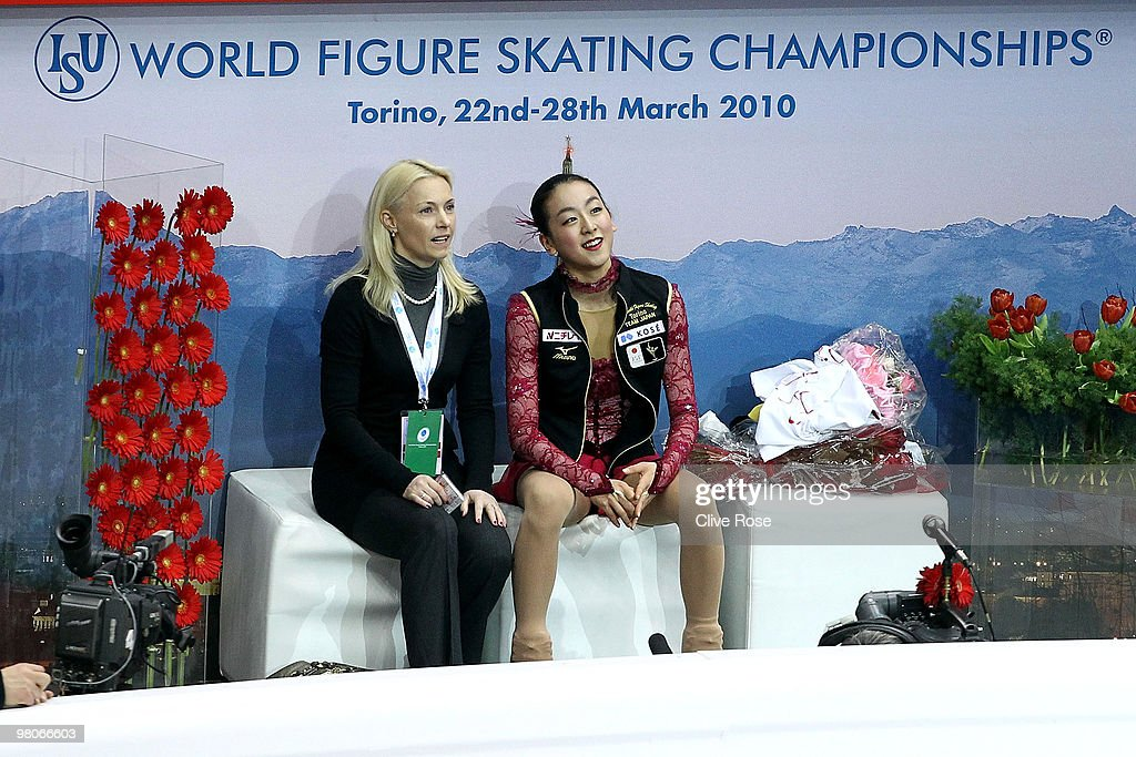 <a gi-track='captionPersonalityLinkClicked' href=/galleries/search?phrase=Mao+Asada&family=editorial&specificpeople=247229 ng-click='$event.stopPropagation()'>Mao Asada</a> of Japan looks on after her Ladies Short Program during the 2010 ISU World Figure Skating Championships on March 25, 2010 at the Palevela in Turin, Italy.