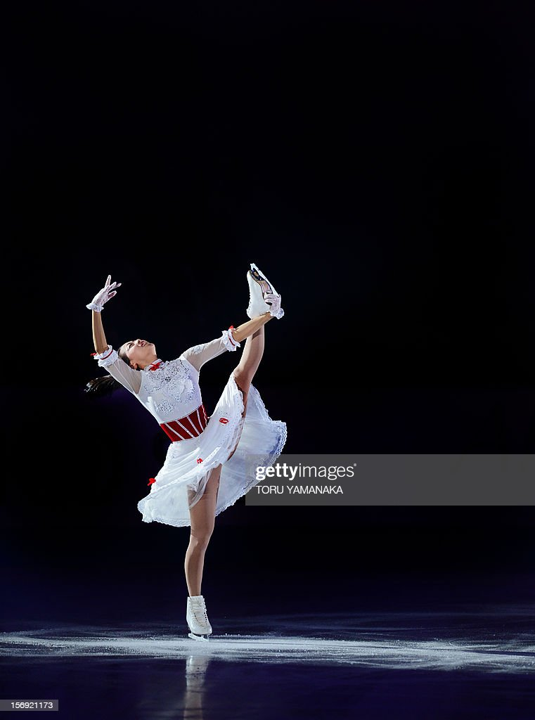 Mao Asada of Japan performs during an exhibition in the NHK Trophy, the last leg of the six-stage ISU figure skating Grand Prix series, in Rifu, northern Japan, on November 25, 2012. AFP PHOTO/Toru YAMANAKA