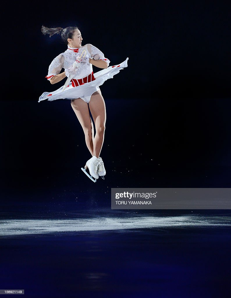 Mao Asada of Japan performs during the exhibition in the NHK Trophy, the last leg of the six-stage ISU figure skating Grand Prix series, in Rifu, northern Japan, on November 25, 2012. AFP PHOTO/Toru YAMANAKA