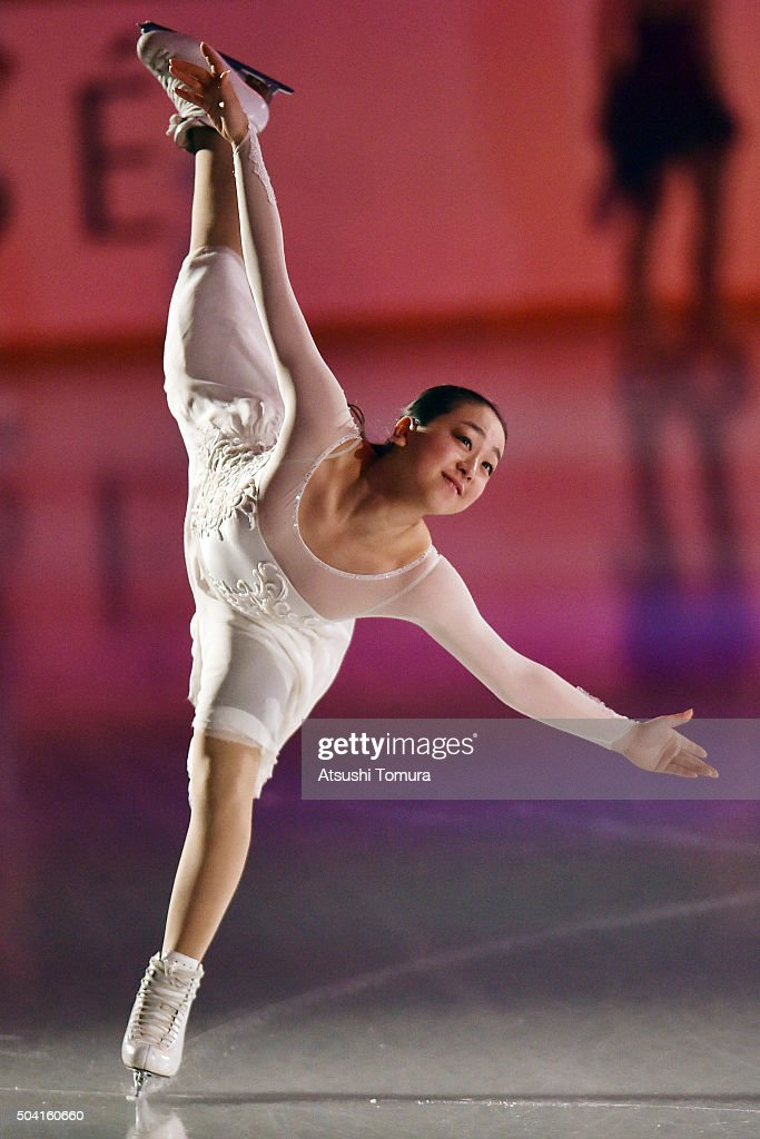 <a gi-track='captionPersonalityLinkClicked' href=/galleries/search?phrase=Mao+Asada&family=editorial&specificpeople=247229 ng-click='$event.stopPropagation()'>Mao Asada</a> of Japan performs her routine during the NHK Special Figure Skating Exhibition at the Morioka Ice Arena on January 9, 2016 in Morioka, Japan.